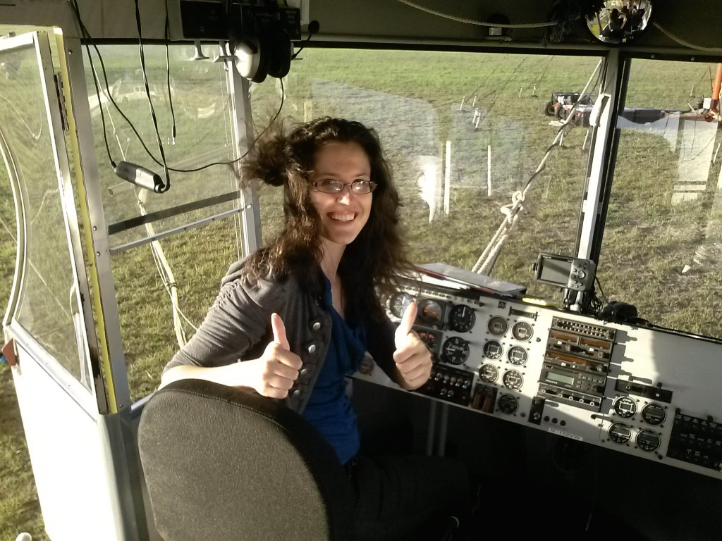 Heather Lopez in the DespicaBlimp cockpit