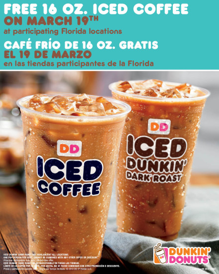 Free Dunkin Donuts Iced Coffee