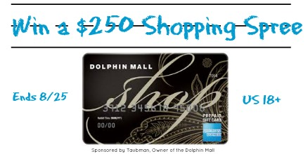 $250 AMEX Giftcard Giveaway valif at Dolphin Mall in Miami and all Taubman properties throughout the US. Must 18+ and US resident to enter.