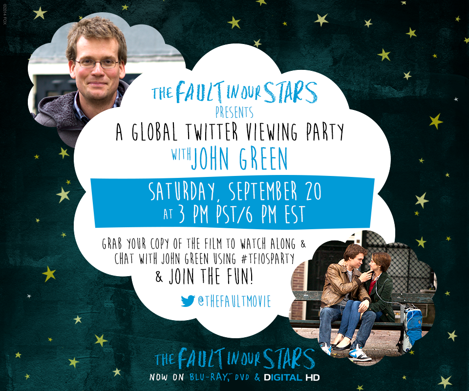 #TFIOSparty Global Viewing Party with author John Green 9-20-14 at 6pm EST