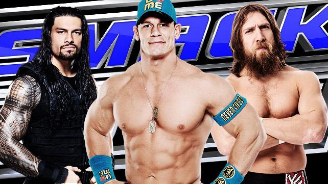 John Cena, Roman Reigns and Daniel Bryan at SmackDown in Ft. Lauderdale 2-17-15