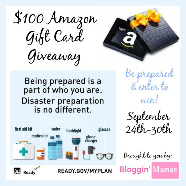 Be Prepared $100 Amazon Giftcard Giveaway- Ends 9-30-15. US 18+