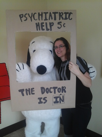 Heather Lopez and Snoopy (The Social Commerce Mom and The Peanuts Movie)