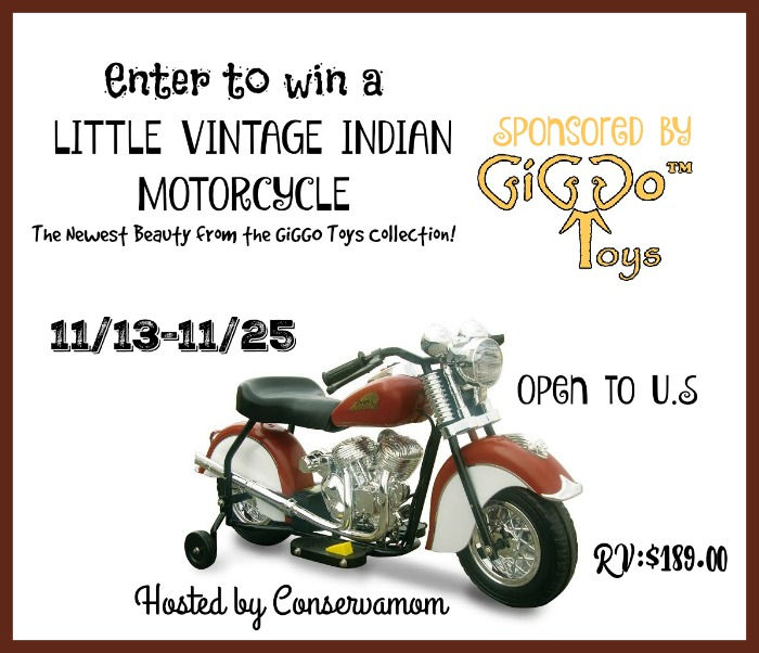 Win a miniature Indian motorcycle! US 18+. Ends 11-25-15.