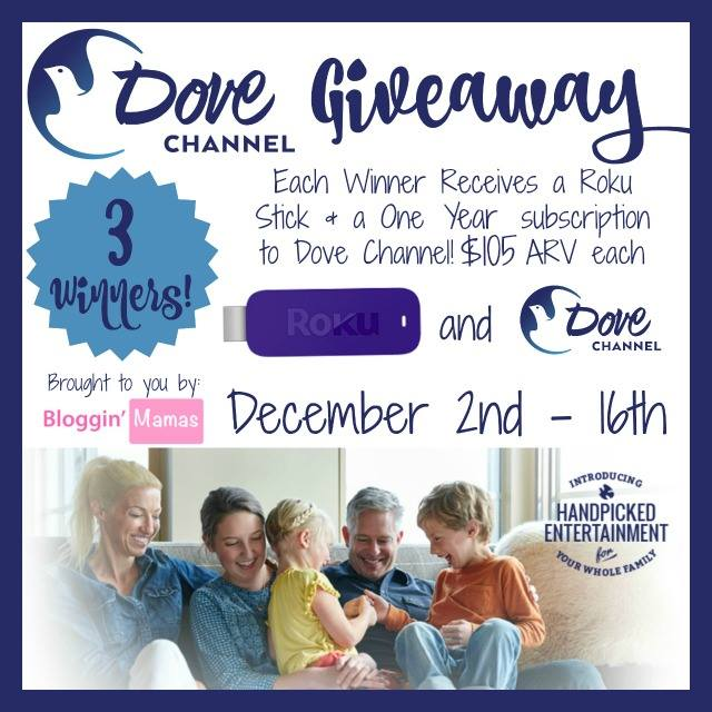 Dove Channel Giveaway- 3 winners- 1 year subscriptions and Roku sticks- US 18+. Ends 12-16-15.