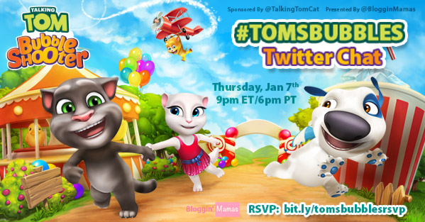 Talking Tom Bubble Shooter Twitter Party 1-7-16 at 9p EST bit.ly/tomsbubblesrsvp