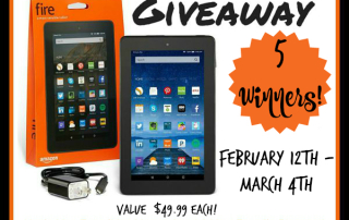 Amazon Fire Giveaway- 5 winners- Ends 3-4-16