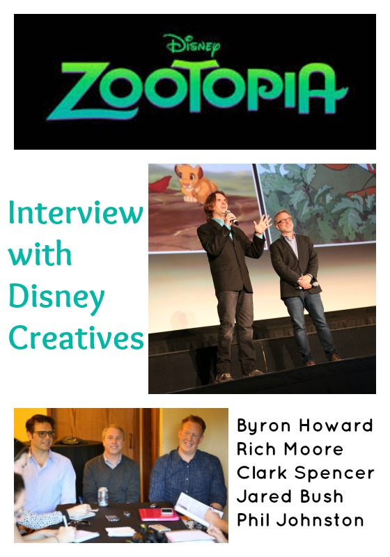 Interviews with Byron Howard, Rich Moore. Clark Spencer. Jared Bush, and Phil Johnston for Zootopia