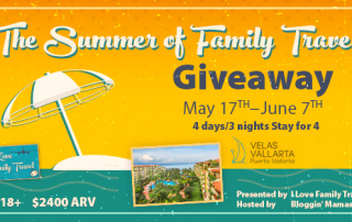 Win a $2400 stay for 4 at Velas Vallarta! Ends 6-7-16. Join the #FamilyTravelChat on 5-19-16 at 9p ET to chat about summer family travel and win prizes from AquaVault. RSVP: bit.ly/summerftcrsvp