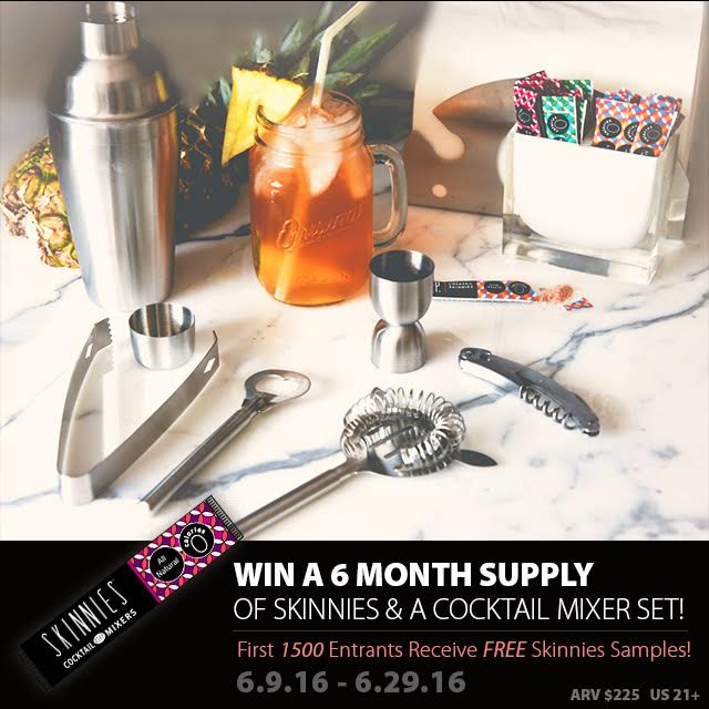 Post Thumbnail of Win a 6 Month Skinnies Supply & Cocktail Mixer Set- ARV $225- Ends 6-29-16