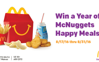 Win McDonalds McNuggets Happy Meals Every Week for a Year. 5 Winnders. Ends 8/31/16.
