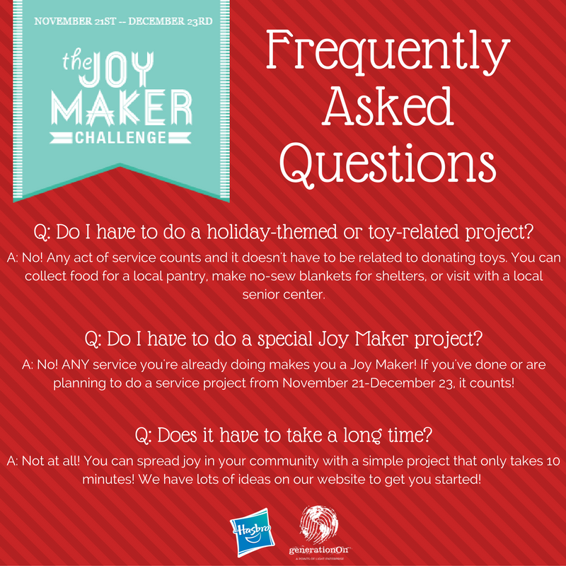 Joy Maker Challenge FAQ Hasbro