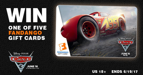 Enter to win one of five Cars 3 Fandango gift cards worth $25 each! Ends 6-19-17. US 18+.