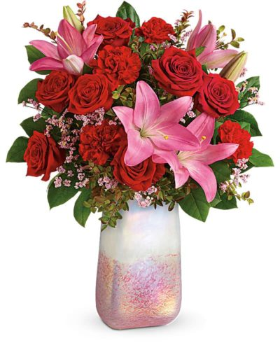 Teleflora bouquet- pink for Valentine;s Day